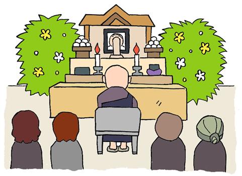 葬式 イラスト 告別式 葬儀 お通夜 僧侶 お経 焼香