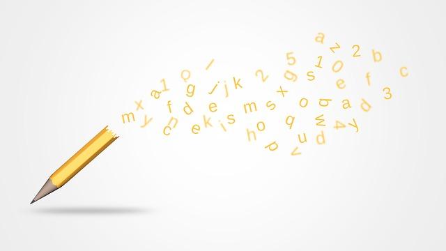鉛筆とアルファベットと数字