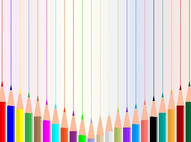 色鉛筆で引かれた線