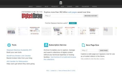Wayback Machineのトップ画面