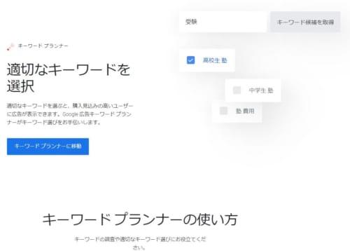 キーワードプランナーのトップ画面